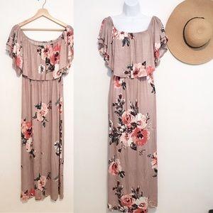 Sweet Pea Floral Off Shoulders Maxi Dress Sz S & M